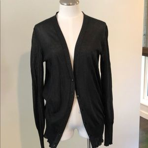 Tory Burch sheer black metallic cardigan